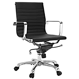 Malibu Mid Back Office Chair in Black Leatherette