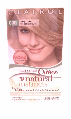 Clairol Natural Instincts 03G Honey Creme Rich Light Golden Blonde front-544981