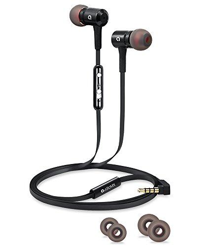 AudioMX カナル型イヤホン 密閉型インナーイヤ ステレオイヤフォン マイク付き 音量調節 ブラック EM-11B