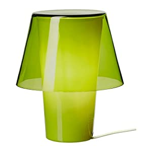 Table lamp, green, frosted glass (IKEA)