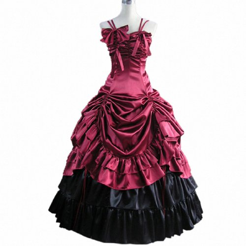 4Colors Sleeveless Satin Party Gown Gothic Victorian Ruffles Prom Lolita Dress WineRed,X-Large