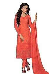 Minimall New Fancy Chanderi Chiffon Orange Salwar Suits