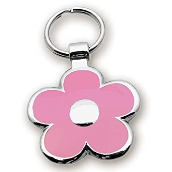 Pet ID Tag – Flower Jewelry Tag- Custom engraved cat and dog ID tags. Jewelry that ensures pet safety. Available in 2 sizes and many colors.