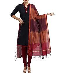 Unnati Silks Women Maroon-brown Pure Handloom Andhra Khadi Cotton dupatta