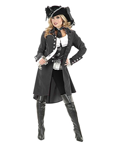 Womens Pirate Lady Vixen Jacket Gun Metal Grey