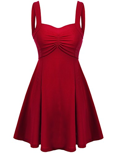 Meaneor Women's Sleeveless Skater Semi Formal Knee Length A Line Dress (Red/M)