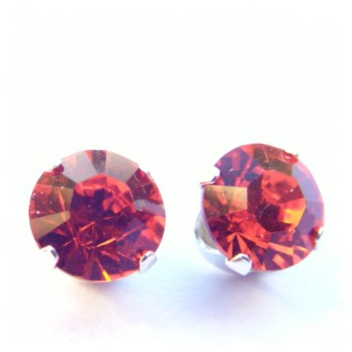 In vogue 925 Sterling Silver Stud Earrings set with Hyacinth Orange Swarovski Crystal Stones. Gift Box. Beautiful jewellery for very special people.
