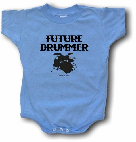 Future Drummer Drum Set Logo Baby/Infant One Piece Jumpsuit 6 Month Blue