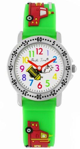 Pacific Time Kinder-Armbanduhr Feuerwehr Auto Quarz grün 21358