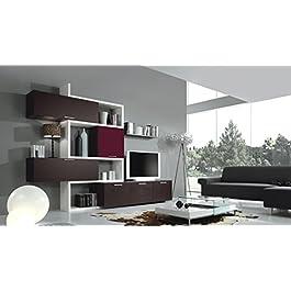 Parete soggiorno completo moderno Ream 30 - Wenghè e Gesso Poro Aperto - Larghezza 300 cm