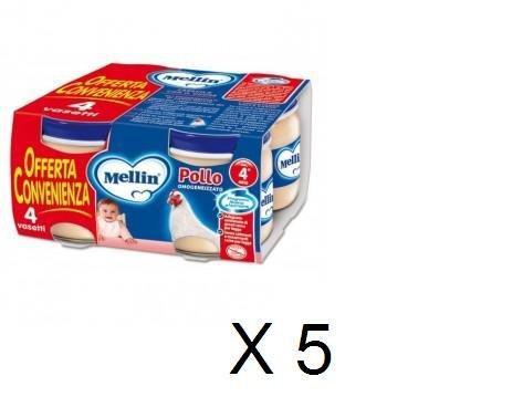 Omogeneizzato Mellin Carne Pollo 4x100g,Offerta Quantità:5 Pacchi