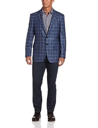 Joseph Abboud Men's Plaid Sport Coat, Blue, 40 S at Amazon