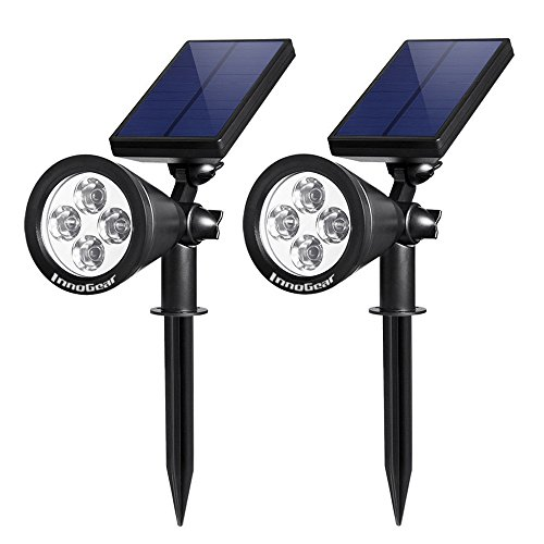InnoGear Solar Lights Spotlight Outdoor Landscape Lighting Wall Light, Pack of 2 (White Light)