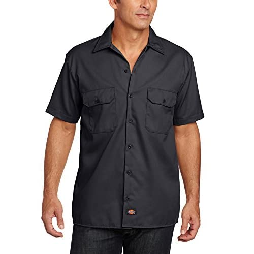 SHORT SLEEVE WORK SHIRT(半袖ワークシャツ) (Large, BK(ブラック))