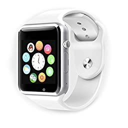 XENCEN All-in-1 Bluetooth Watch Wrist Watch Phone with SIM Card Slot ,camera,and NFC bluetooth 4.0/Easy connection/ Make calls/Support SIM/TF for IOS,Android ,Above SmartPhones. (White)