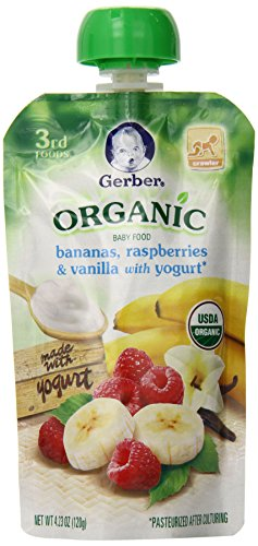 Gerber Organic 3rd Foods Bananas, Raspberries & Vanilla with Yogurt, 4.23 Ounce Pouch  (Pack of 12) (Banana Baby Food Gerber compare prices)