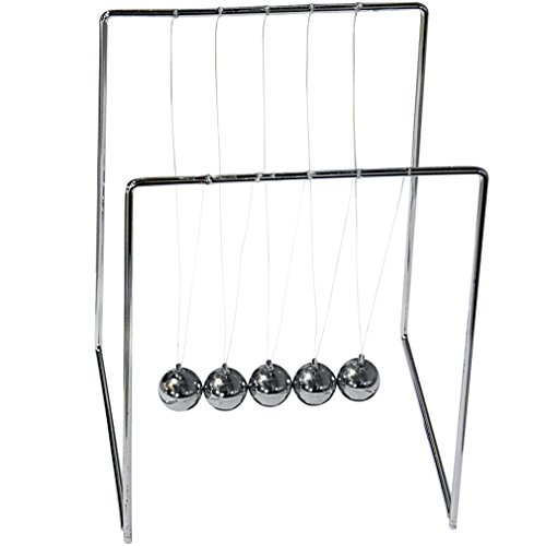 Evelots Medium Newton's Cradle, Balance Balls, Desk Accessory, Silver Toned