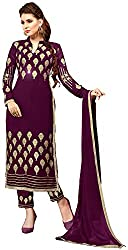 Awesome Women's Georgette Unstitched Dress Material (Purple)