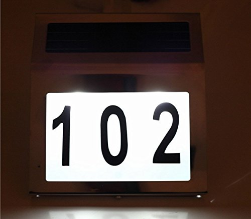 J Creater Solar Powered 3 Led House Address Wall Number