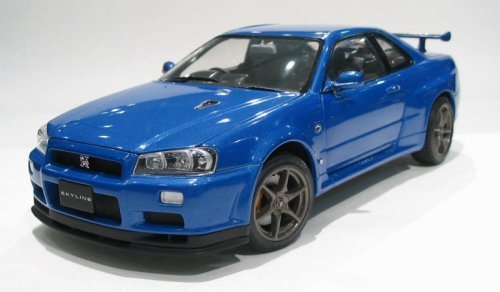 Nissan Skyline GTR R34 V-Spec II Blue 1/24 Scale Diecast Model (japan import)