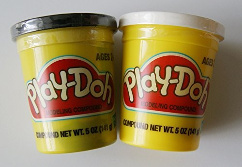 Play-doh Black and White - Set of Two Single Cans (5 Oz.) - 1