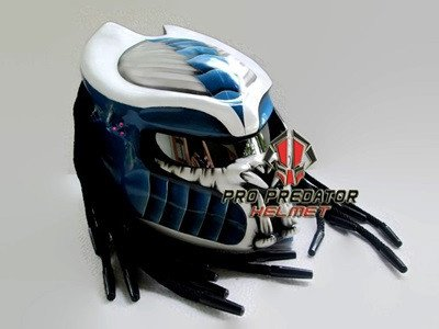 SY07 Custom Predator Motorcycle Dot Helmet White & Blue