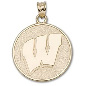 Wisconsin Badgers 3 4 Round Motion W Pendant - 14KT Gold Jewelry by Logo Art