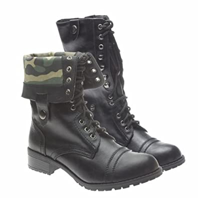 New  Womens Mid Calf Boots Fold Over Cuff Lace Up Combat Shoes Black SZ 6H