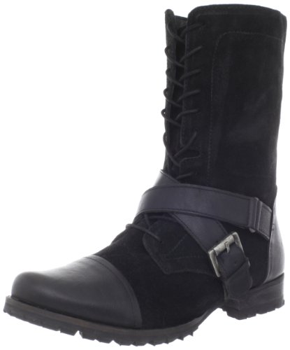 Naughty Monkey Women's Stomper Motorcycle Boot,Black,9.5