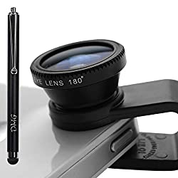 DMG Universal Clip-On 3 in 1 Mobile Cell Phone Camera Lens Kit, 180 Degree Fisheye Lens + 0.67X Wide Angle + 10X Macro Lens, With 2 Lens Clip Holders