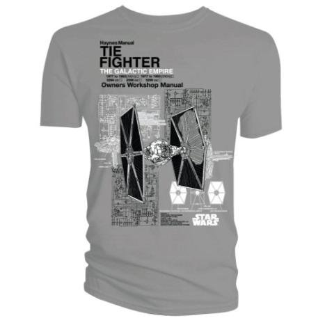 Official T Shirt STAR WARS Grey TIE FIGHTER Haynes L