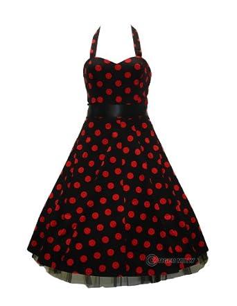 50's Big Polka Dot Swing Prom Dress Red - Size 10 (S)