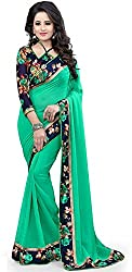 Sonani Fashion Women's Georgette bollywood designer sarees for party wear low price sarees with blouse
