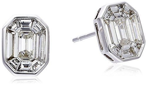 Special-Emerald-Cut-Composite-Solitaire-14k-White-Gold-Earrings-1cttw-H-I-Color-I1-I2-Clarity