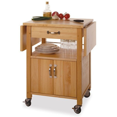 Cheap Kitchen Cart with Drop Leaf in Beech (B0014RB304)