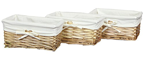 Vintiquewise Willow Shelf Basket Lined with White Lining (Set of 3 Small Baskets) (Basket With Liner compare prices)