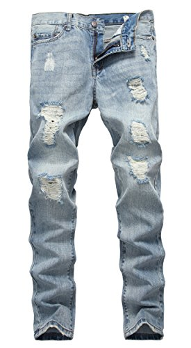 NITAGUT Men's Ripped Slim Fit Tapered Leg Jeans Light Blue-US 32 (Jeans Blue Light For Men compare prices)
