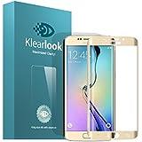 KlearLook Samsung Galaxy S6 Edge 全面フルカバー強化ガラス保護フィイルム 0.33MM 3Dラウンドエッジ加工 硬度9H 強化ガラスフィルム(1+1 強化ガラス液晶面1枚+指紋防止背面1枚 ) (ゴールデン)