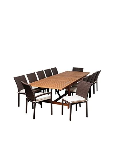 Amazonia Jefferson 13-Piece Eucalyptus Wicker Extendable Rectangular Dining Set, Brown