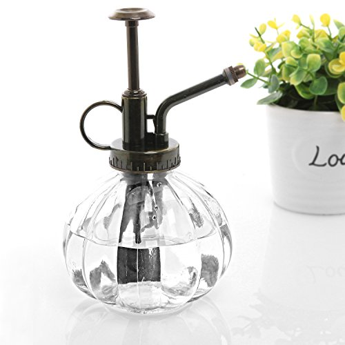Clear Vintage Style Decorative Ribbed Glass Plant Mister Bottle with Top Pump