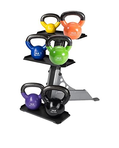 Body Solid 105 lbs. Vinyl Kettle Bell Set with Rack, Multi