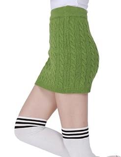 Doublju Kink Cable Knit Micro Mini Skirt GREEN (US-M)