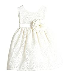 Sweet Kids Baby Girls\' Sweet Vintage Lace Dress 12M Med Off White (SK B437)