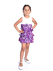 Oye Sleeveless Dress with Frill Layers - Purple (2-3 Y)