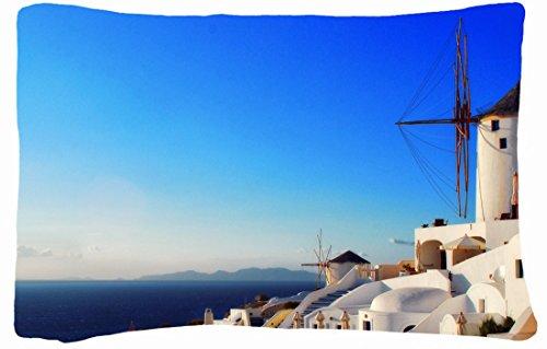 Microfiber Peach Queen Size Decorative Pillowcase -Cities Travel Santorini front-855169
