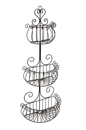 Wall Mounted Scrollwork Design Deluxe 3 Tier Black Iron Fruit Basket / Kitchen Storage Rack - MyGift® (Wire Wall Planter compare prices)