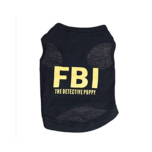 Dogs Vest FBI The Detective Puppy Design T-shirt Dog Clothes Summer Coat Puggy Costumes Dress Pet Dogs Cat (Dog In Wizard Of Oz)