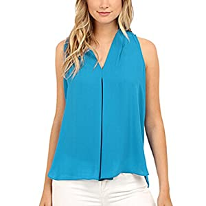 Women's Solid V-Neck Sleeveless Chiffon Wrapped Blouse T-Shirt Tops