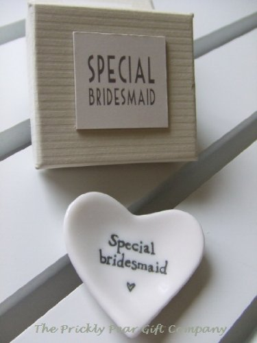 East of India Special Bridesmaid White Porcelain Heart Dish - Wedding Gift