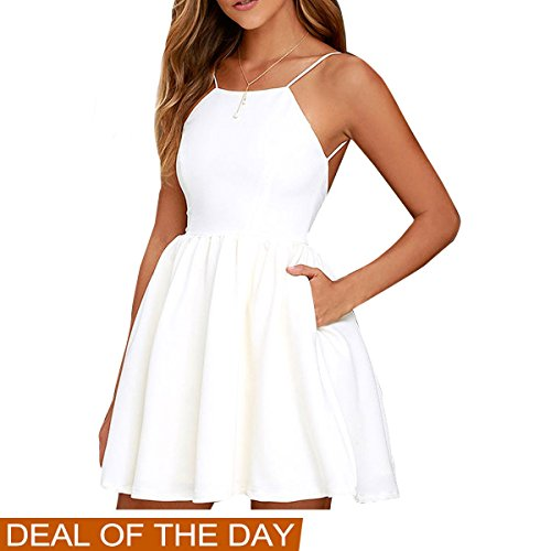 FANCYINN Women Sexy Backless Spaghetti Strap Floral Print Short Mini Casual Dress White S